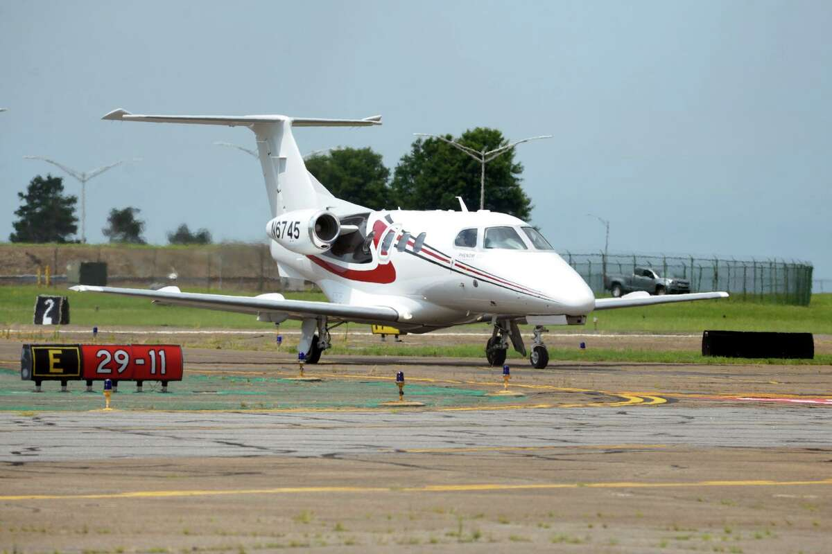 A private jet taxis after landing at Sikorsky Memorial Airport, in Stratford, Conn. July 15, 2020.
