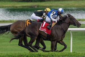 It was an intense head to head finish as #1 Speaktomeofsummer with jockey Joel Rosario edged out #6 Stunning Sky with Iran Ortiz Jr. aboard to win the 37th running of the Lake Placid at Saratoga Race Course July 19, 2020 in Saratoga Springs, N.Y.  Photo by Skip Dickstein/Special to the Times Union.