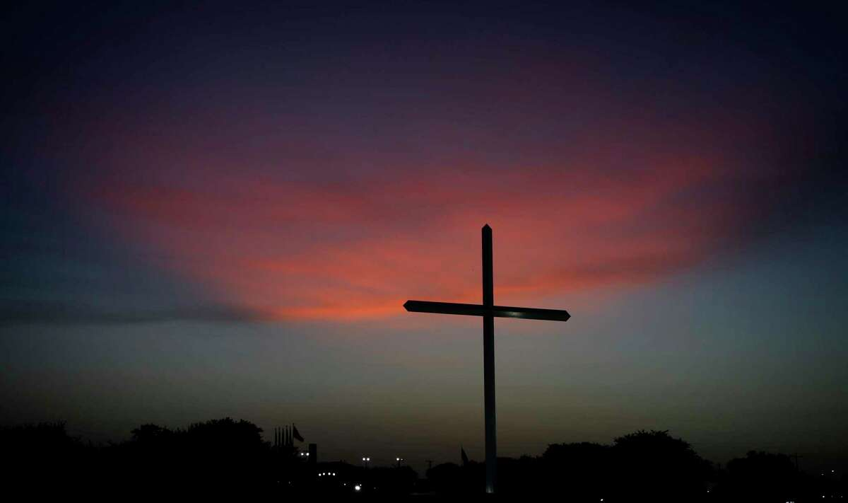 Dick Tips, owner of Mission Park Funeral Chapels, Cemeteries & Crematories, has built a large cross to honor those who have died during the coronavirus pandemic. The cross was erected on Good Friday, April 10, 2020.