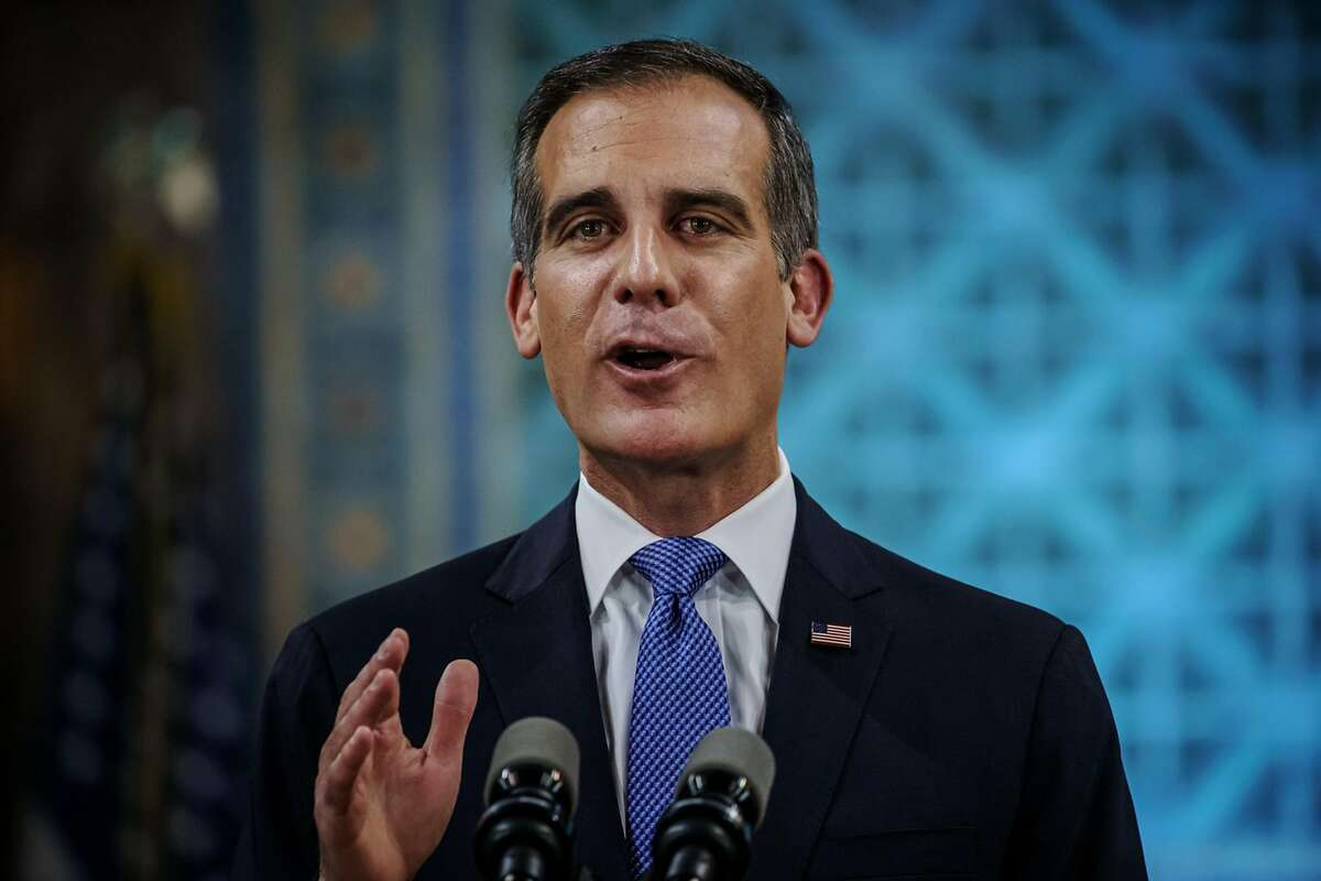 Los Angeles Mayor Eric Garcetti tears up as he gives his annual