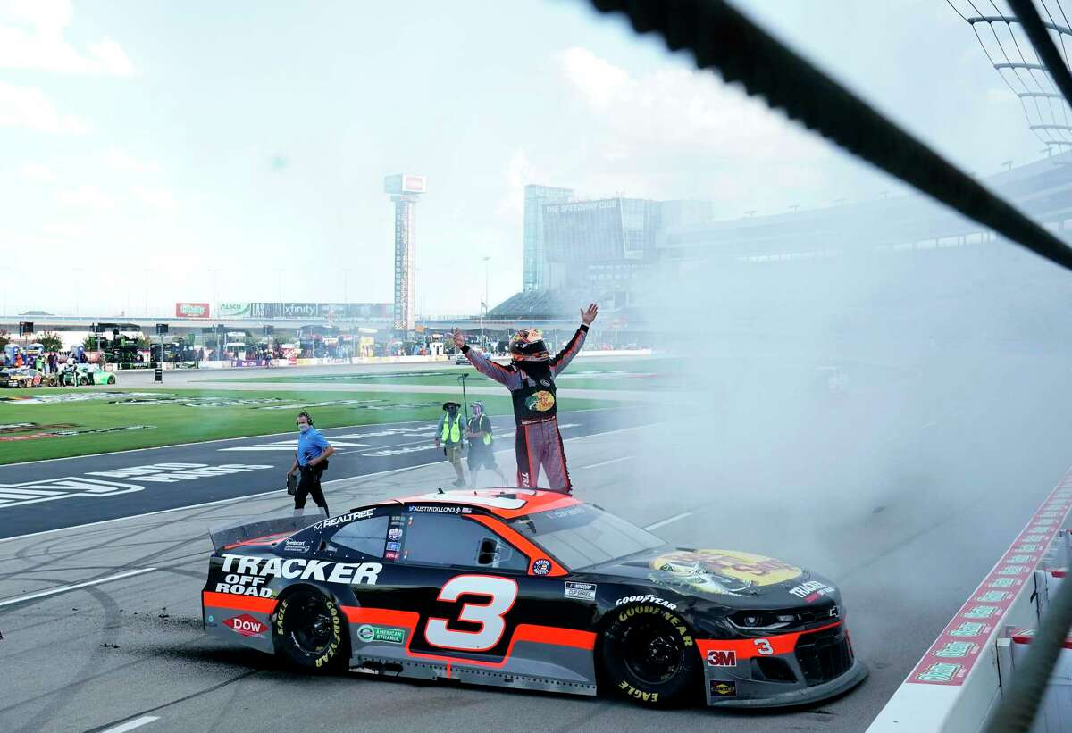 FORT WORTH, TEXAS - JULY 19: Austin Dillon, driver of the #3 Bass Pro Shops Chevrolet, celebrates winning the NASCAR Cup Series O'Reilly Auto Parts 500 at Texas Motor Speedway on July 19, 2020 in Fort Worth, Texas. (Photo by Cooper Neill/Getty Images)