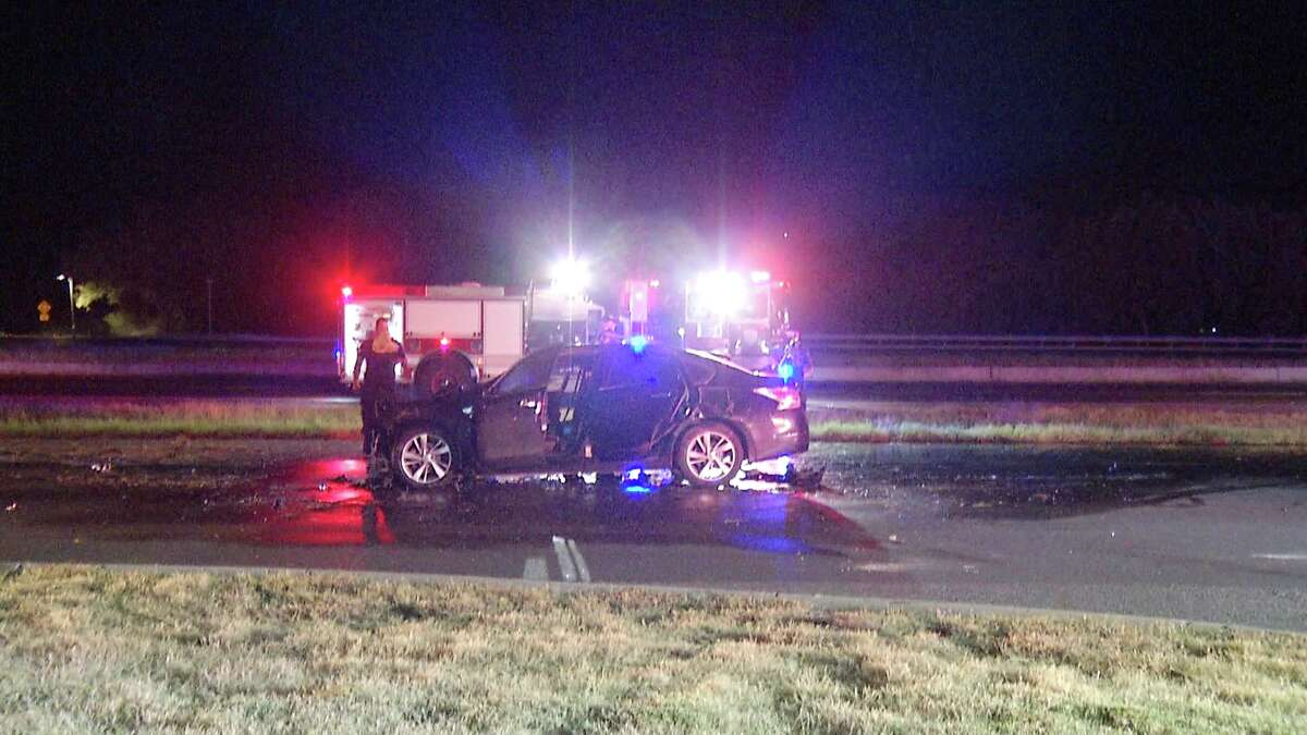 A man was hospitalized after driving off a North Side highway, causing his vehicle to catch on fire Monday morning, July 20, 2020.