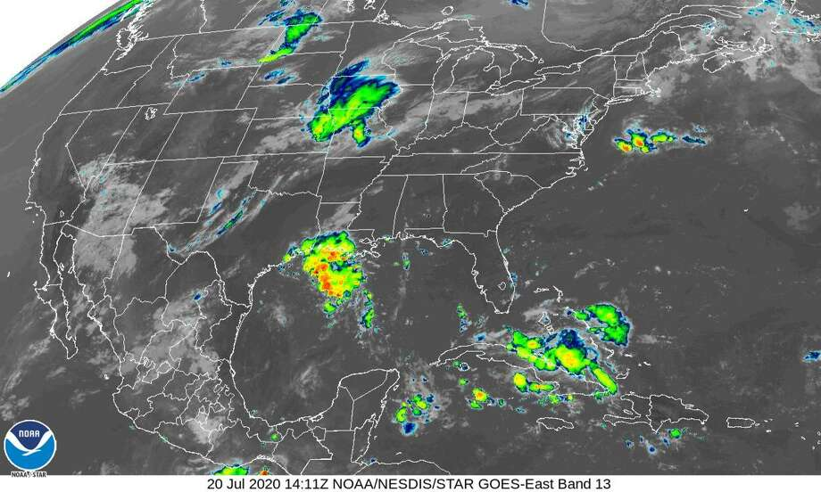 A disturbance in the Gulf of Mexico threatens to dump upwards of two inches of rain in Houston by Tuesday, July 21, 2020. Photo: National Hurricane Center
