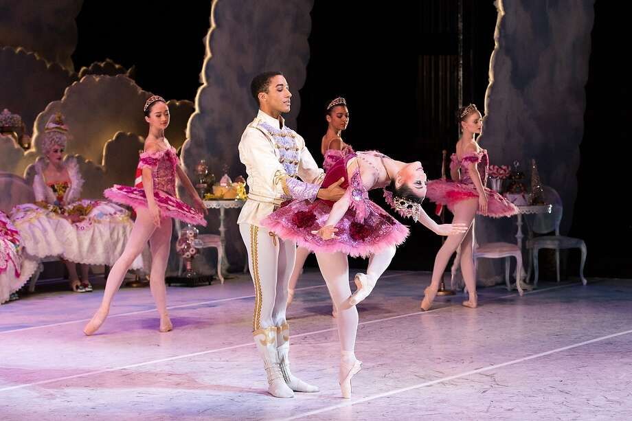 """Houston Ballet soloist Harper Watters and principal Soo Youn Cho in a 2019 performance of Stanton Welch's """"The Nutcracker"""" at Wortham Theater Center. The Houston Ballet cancels performances of The Nutcracker 2020 season amid ongoing concerns of the pandemic. Photo: Claire McAdams, Houston Ballet"""