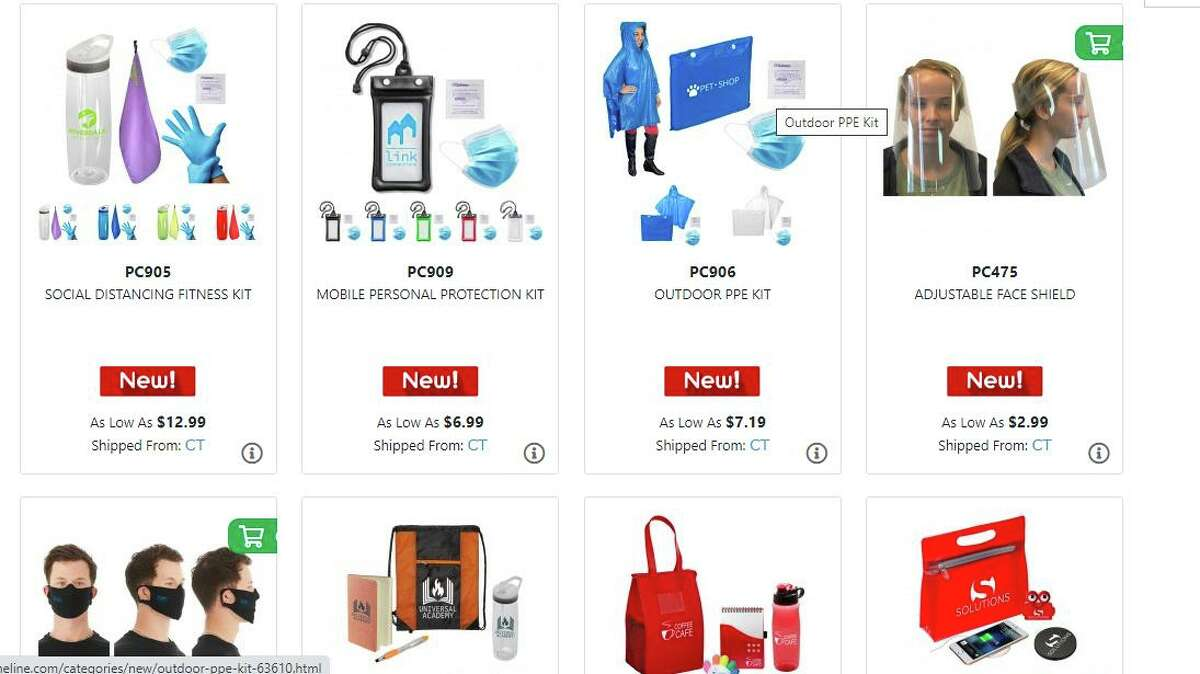 Personal protective equipment and other pandemic supplies for sale in July 2020 on the Prime Line website of alphabroder. (Screenshot via Prime Line)