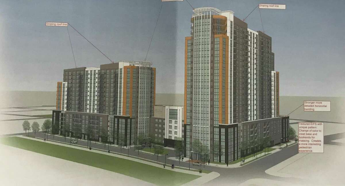 Early rendering of Building and Land Technology's plan for the old B&S Carting site at Walter Wheeler Drive and Woodlawn Avenue in the South End. The project is the subject of a court fight between BLT and the Board of Representatives, which acted on a protest petition from residents unhappy with the increased density.