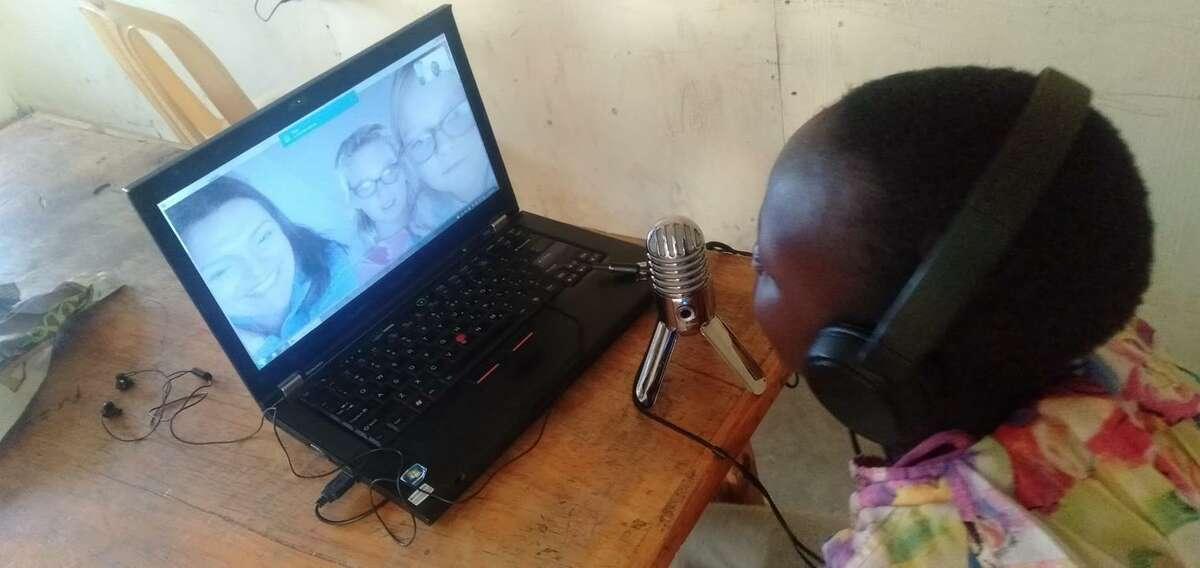 FAFU student skypes with her sponsor family in Kibera, Kenya.