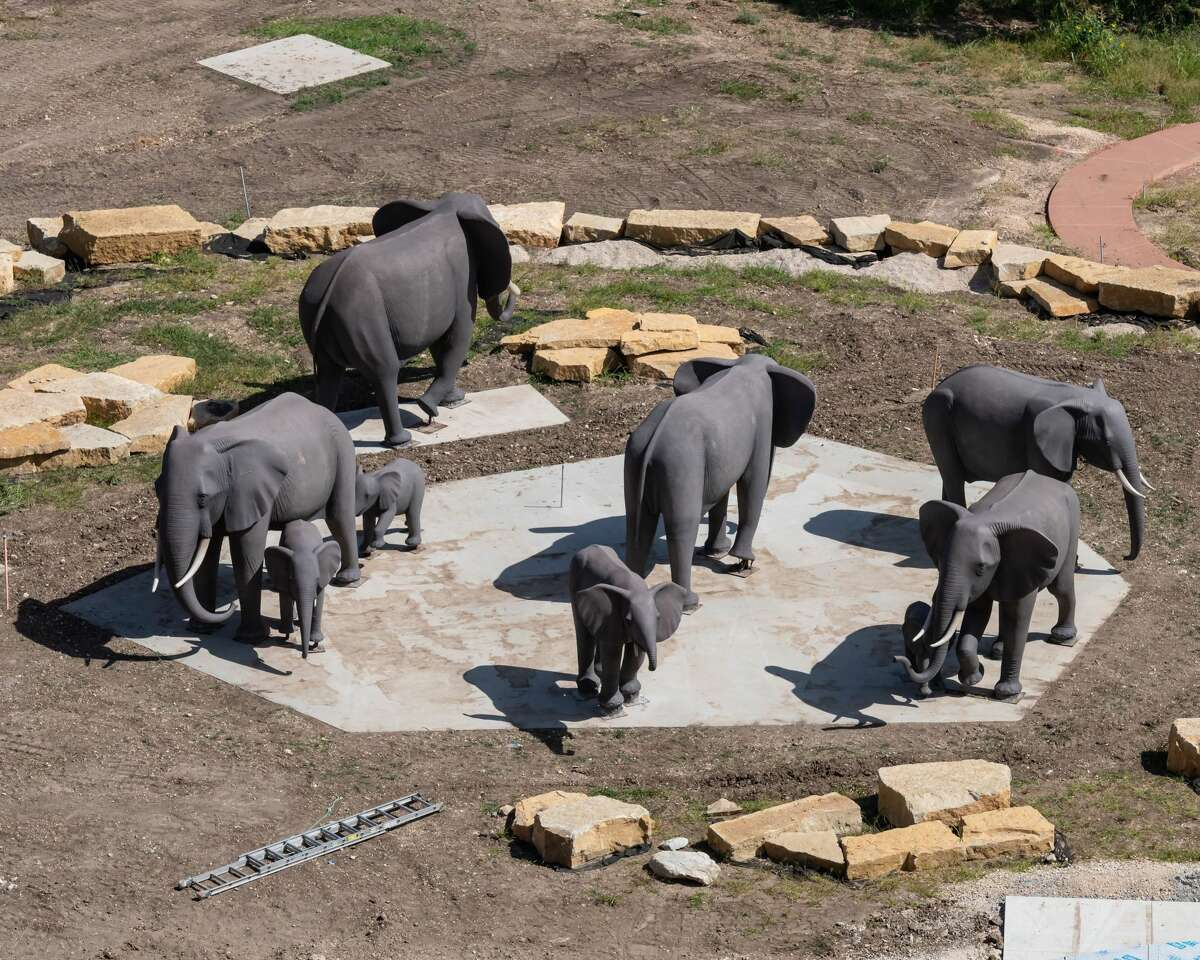 """To highlight its """"African-theme"""" design, the company installed 22 life-size sculptures - 12 elephants, seven zebras, a mother and her baby rhinoceros and a cape buffalo."""