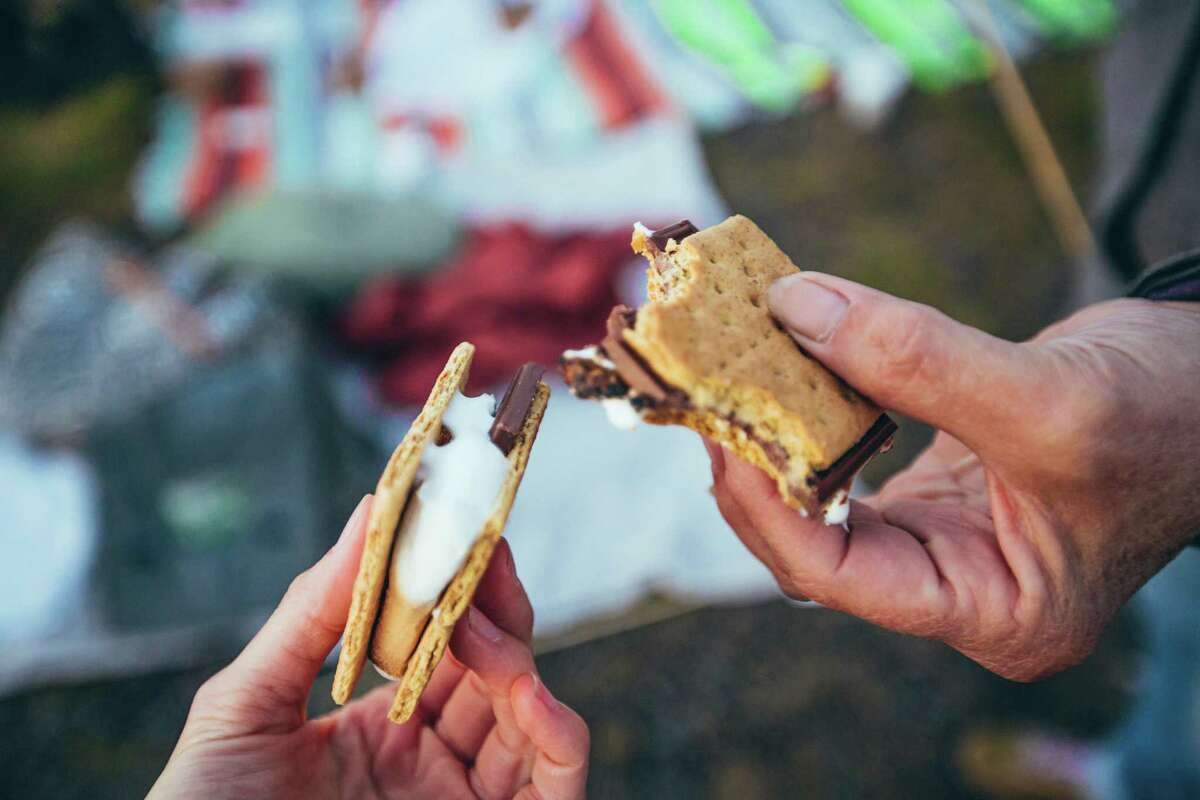 The family can enjoy s'mores at Woodcock Nature Center and meet the resident animals.
