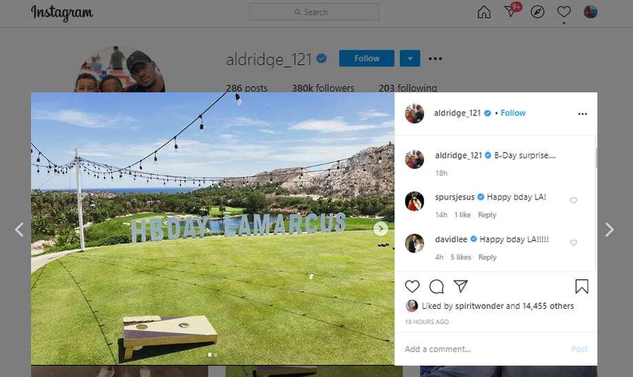 """Lamarcus Aldridge: """"B-Day surprise..."""" Photo: Instagram Screenshot"""