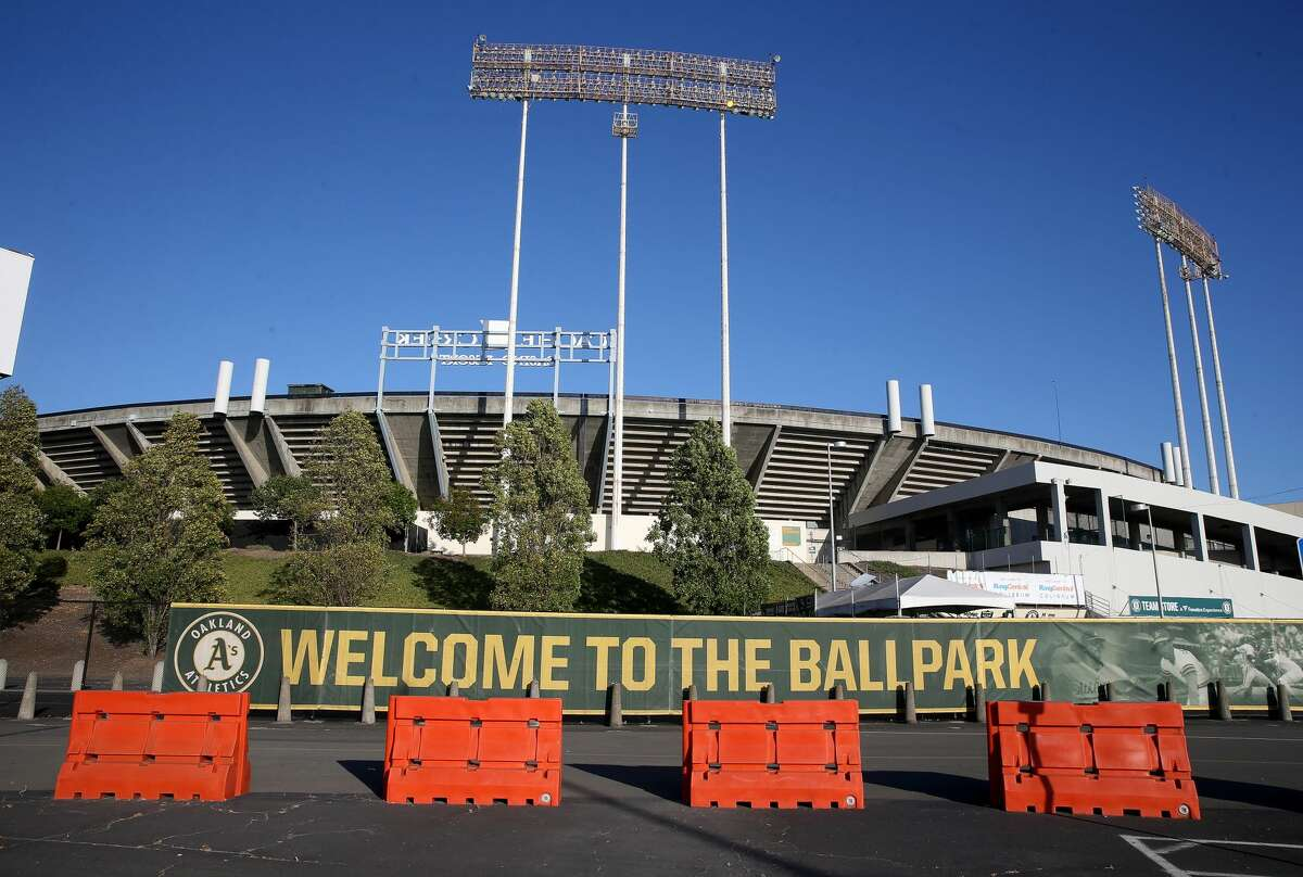 A view of the Coliseum is seen after the Oakland Athletics Summer Camp in Oakland, Calif., on Tuesday, July 14, 2020.