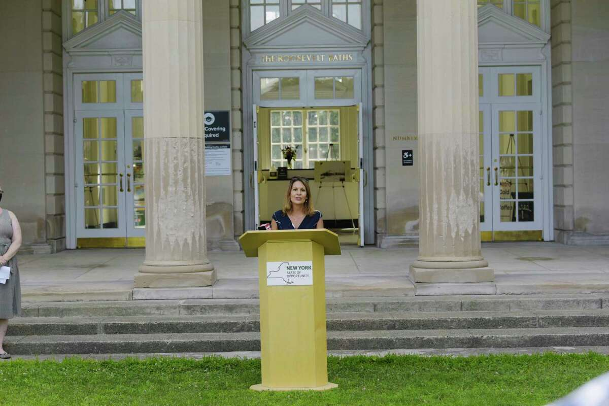 Stephanie Ferradino, co-founder of Coesa speaks during a ribbon cutting event at the Roosevelt 2 Bathhouse at Saratoga Spa State Park on Monday, July 20, 2020, in Saratoga Springs, N.Y. (Paul Buckowski/Times Union)