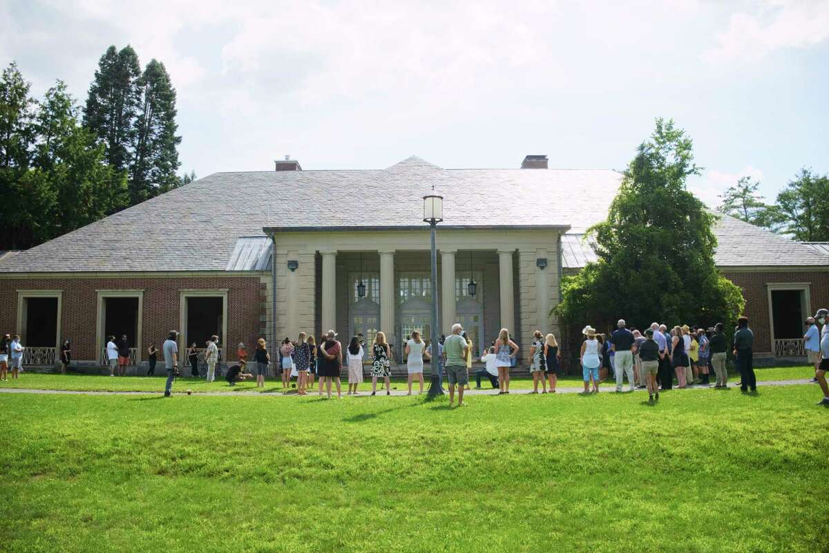 People gather for a ribbon cutting event at the Roosevelt 2 Bathhouse at Saratoga Spa State Park on Monday, July 20, 2020, in Saratoga Springs, N.Y. (Paul Buckowski/Times Union)