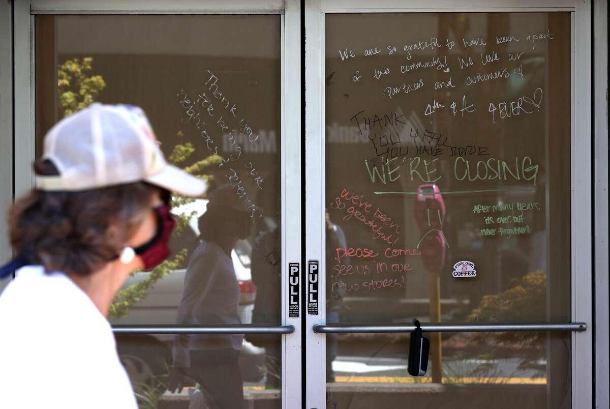 A pedestrian walks by a closed Starbucks Coffee on July 14, 2020 in San Rafael, California.