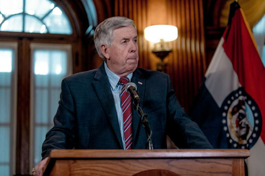 Missouri governor Mike Parson is receiving criticism for comments he made on students returning to school and pardoning a couple who pointed guns at protestors. Photo: Jacob Moscovitch/Getty Images / 2019 Getty Images
