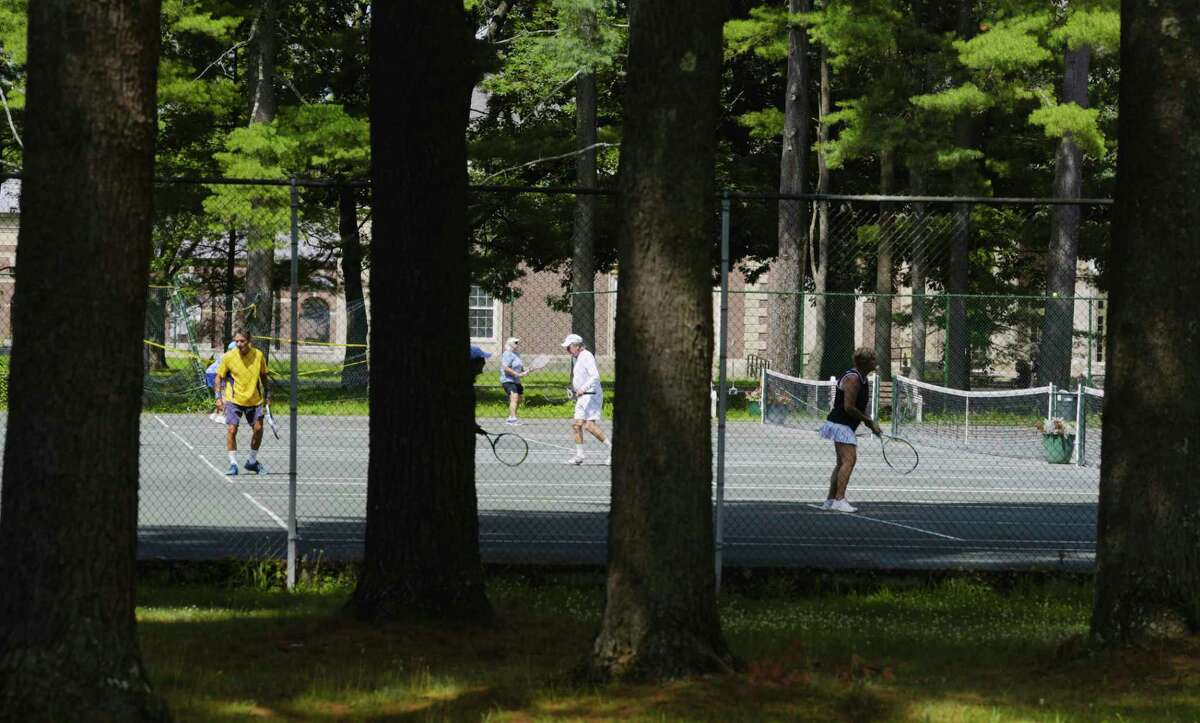 People play tennis at Saratoga Spa State Park on Monday, July 20, 2020, in Saratoga Springs, N.Y. (Paul Buckowski/Times Union)