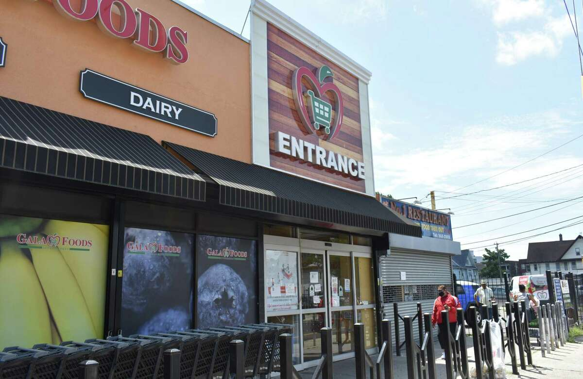 Gala Foods Supermarket in July 2020 on Fairfield Avenue in Bridgeport, Conn., one of two Bridgeport stores where parent cooperative Key Food Stores reported incurring a breach in its card payment readers between April 2019 and January 2020.