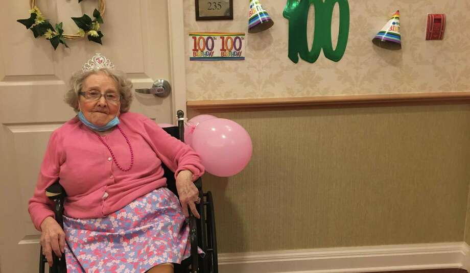 The Greens at Cannondale celebrates Helen Ladouceur's 100th birthday on July 11, 2020, in Wilton, CT. Photo: Contributed Photo / The Greens At Cannondale / Wilton Bulletin Contributed
