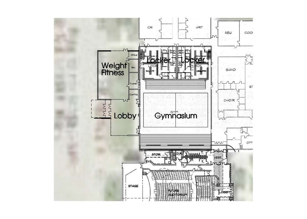 This concept drawing shows proposed changes to the high school gymnasium space under the new bond proposal.