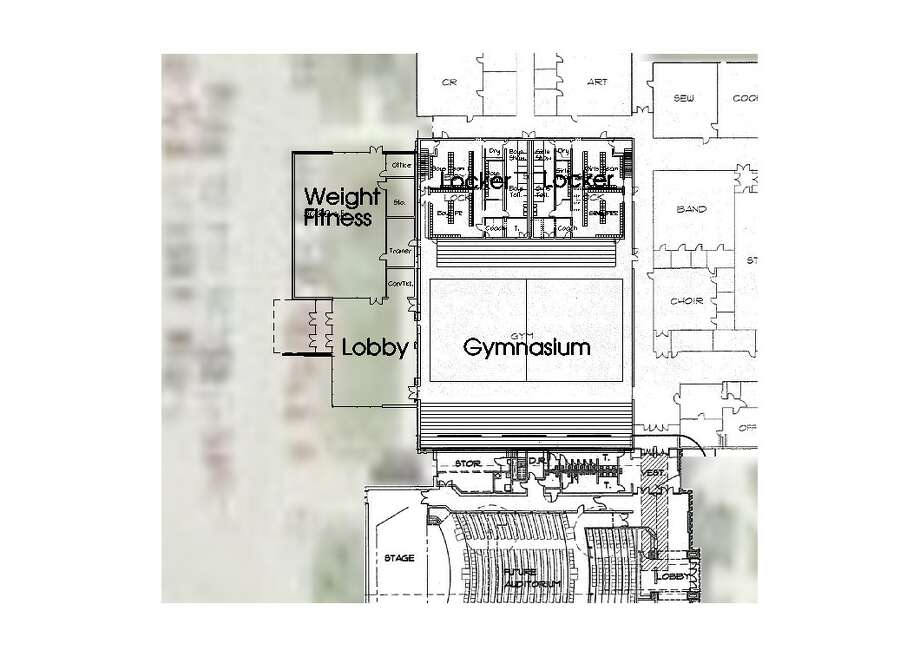 This concept drawing shows proposed changes to the high school gymnasium space under the new bond proposal. Photo: Submitted Photo