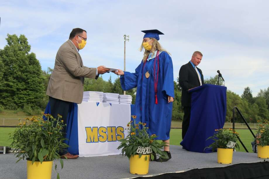 The Morley Stanwood Class of 2020 graduated Sunday. During the ceremony, students filled the high school football field, while parents spread six feet apart cheered them on from the sidelines. Social distancing and mask wearing were enforced. Photo: (Courtesy Photos)