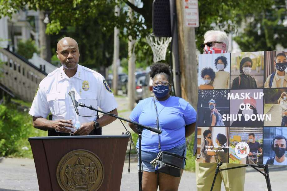 Albany Police Chief Eric Hawkins speaks at a press conference on Hudson Ave. on Monday, July 20, 2020, in Albany, N.Y. City leaders along with representatives from area colleges and neighborhood associations took part in the press conference held to reiterate the importance of mask wearing and social distancing. A July 4th party on  Hudson Ave. has been linked to at least 22 positive COVID-19 cases in Albany County.  (Paul Buckowski/Times Union) Photo: Paul Buckowski, Albany Times Union / (Paul Buckowski/Times Union)
