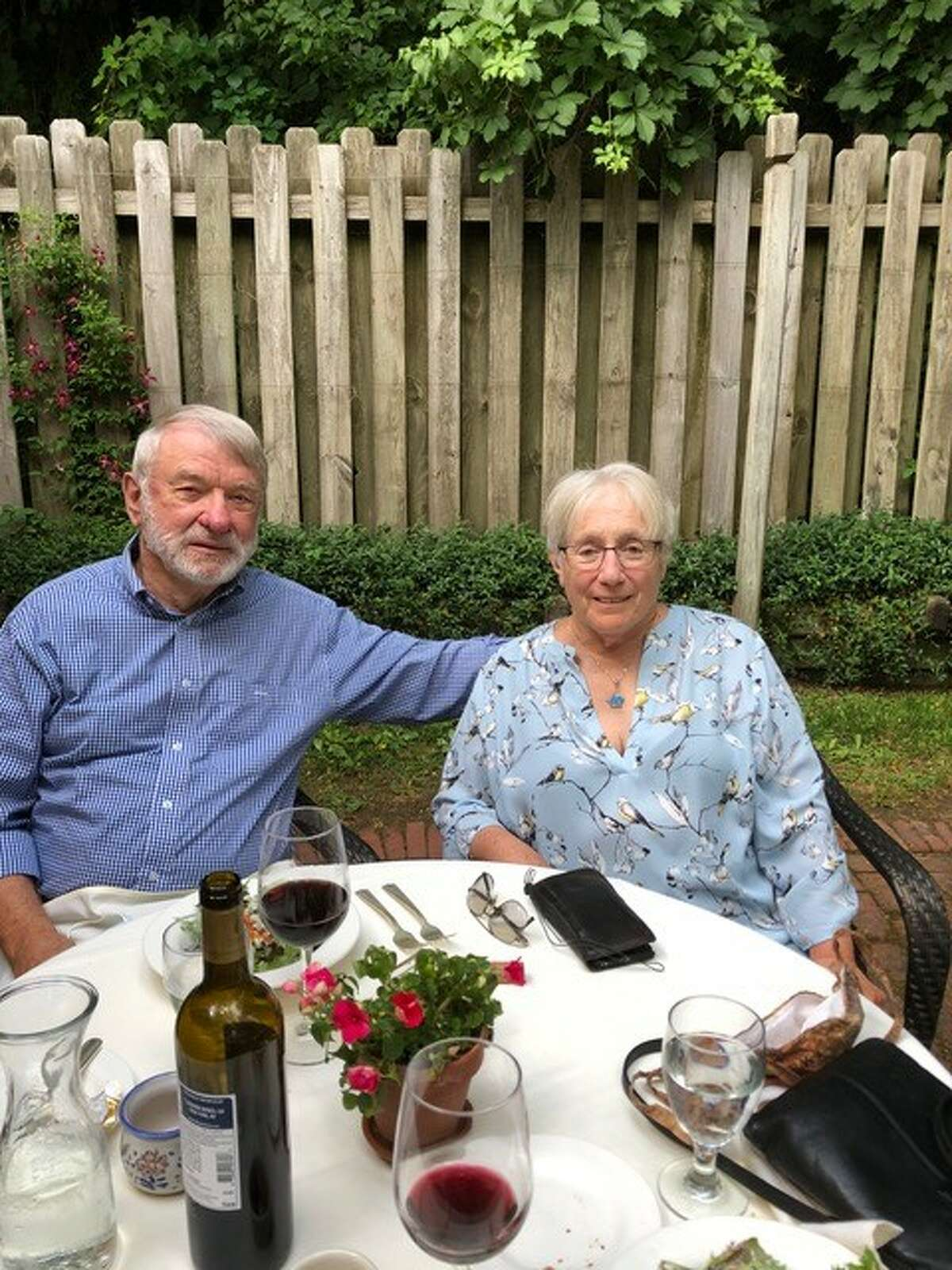 Dave and Lynne Harding at the Swiss Hutte restaurant in Hillsdale for their 55th anniversary