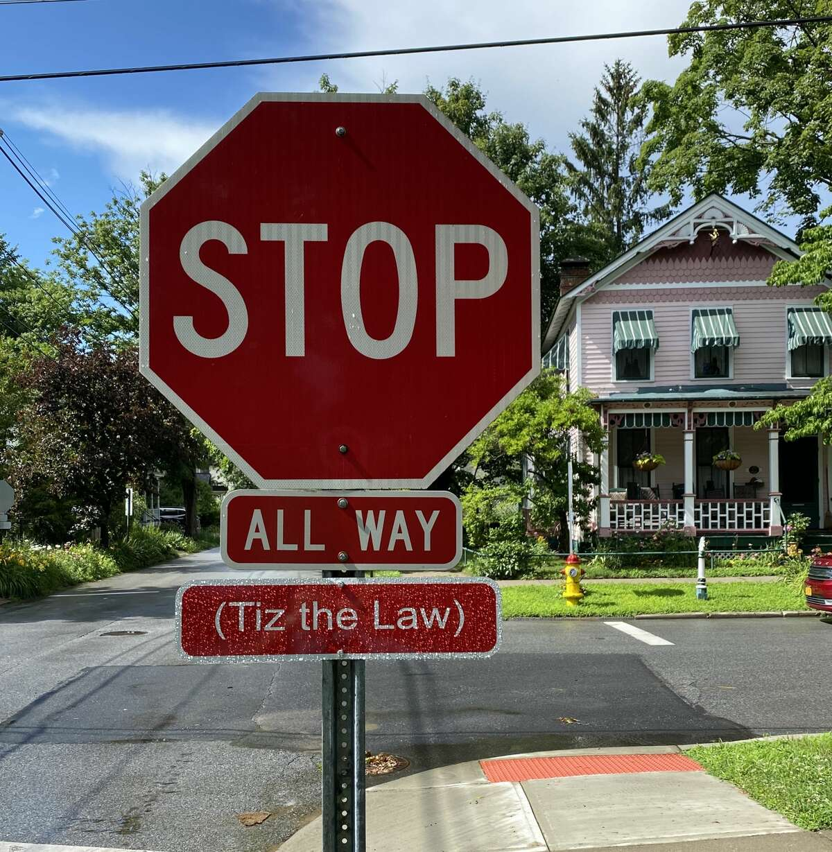 Bob Giordano orginally posted his Tiz the Law signs on at the four-way stop at the corner of Nelson Avenue and York Street in Saratoga Springs.