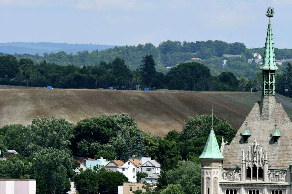 Dunn C&D Landfill in Rensselaer is seen from Empire State Plaza on Monday, July 20, 2020, in Albany, N.Y. The city of Rensselaer's new 2020-21 budget shows the number of trucks going into the Dunn Landfill has dropped 50 percent, cutting the city's revenues in half. Part of a negative impact on city income. (Will Waldron/Times Union)
