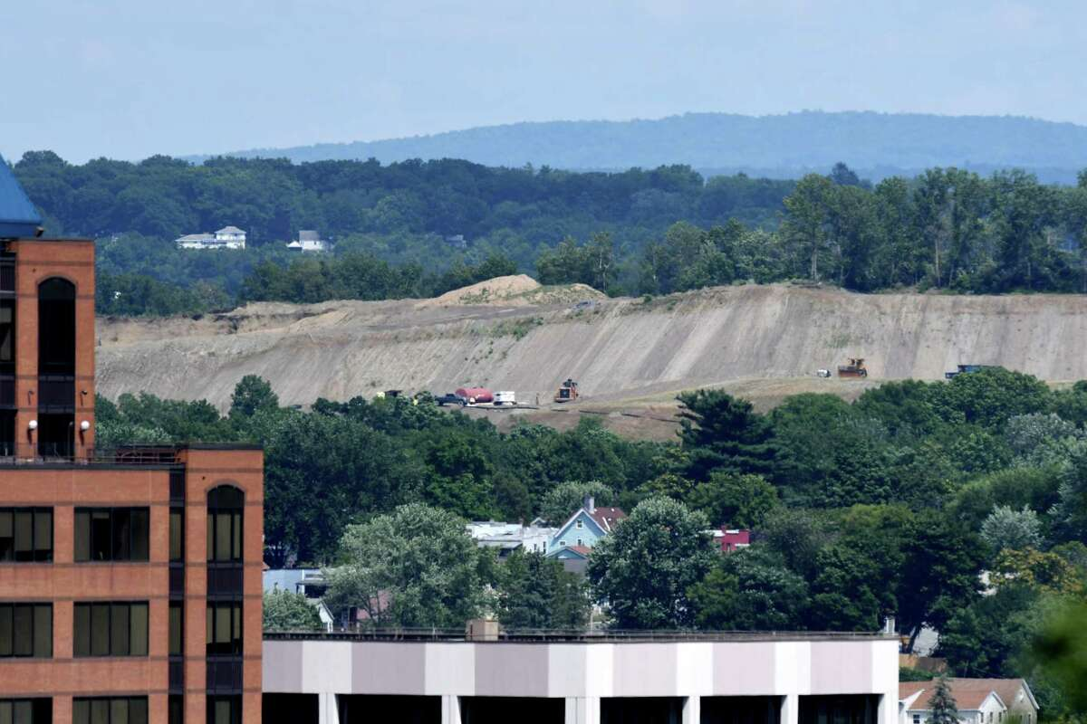 FILE. Letter writer says state needs to address potential presence of PFAS leachate around Dunn Landfill in Rensselaer, seen here from the Empire State Plaza. (Will Waldron/Times Union)