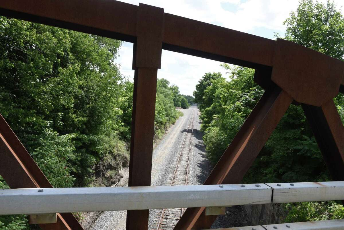 The Rensselaer County Route 4 bridge spanning Amtrak rail tracks is closed on Monday, July 20, 2020, in Schodack, N.Y. Rensselaer County is seeking federal help to deal with Amtrak over replacement of what's known as the Buffalo Bridge. Its name comes from being near the GEM Farm Buffalo. (Will Waldron/Times Union)