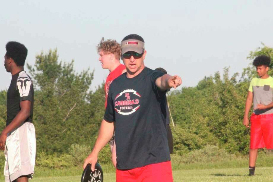 Big Rapids football coach Mike Selzer directs traffic at a recent workout. (Pioneer file photo)