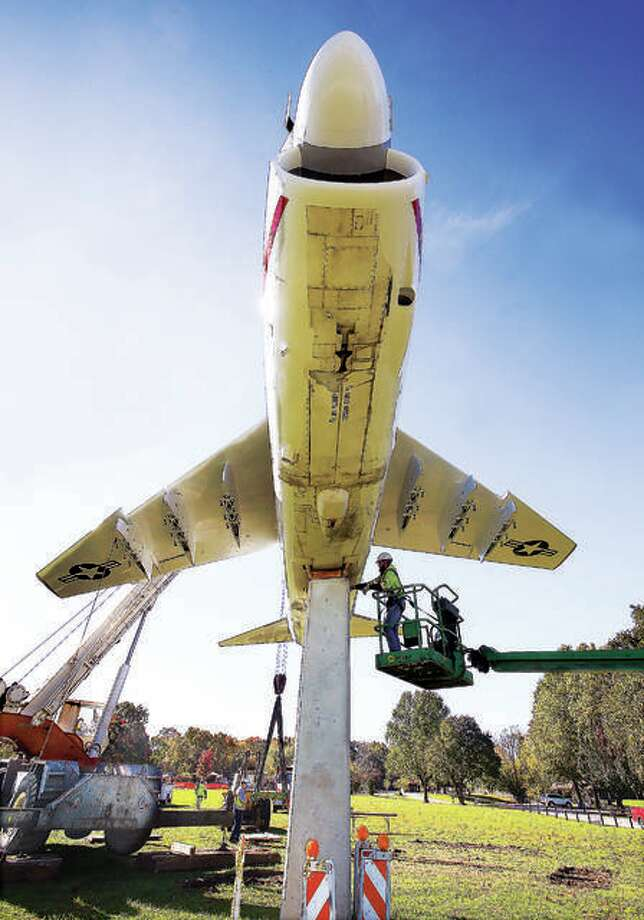 Edwardsville Township officials announced that the park will reopen Monday to half-capacity in most places. The park, which is well-known locally for its fighter jet, has been closed since March. The jet was refurbished in 2017. Only 15 E version A-7's are on display around the United States. Photo: John Badman   Hearst Newspapers