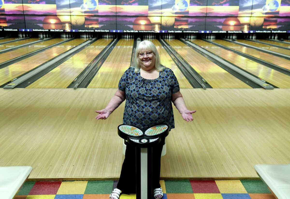 Carol Judge, manager of Spare Time-Latham, is eager for customers to return to the bowling center on Monday, July 20, 2020, in Colonie, N.Y. New York bowling centers have remained closed under state coronavirus guidelines. (Will Waldron/Times Union)