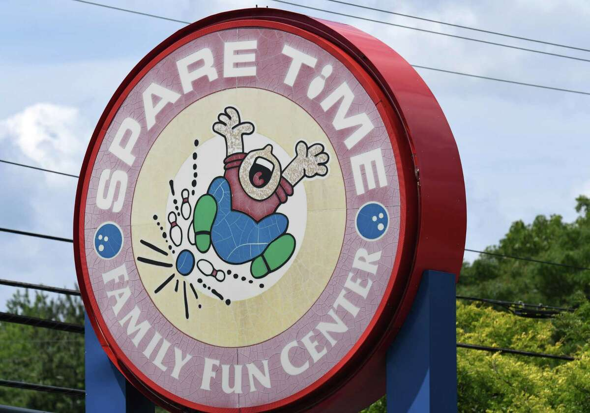The sign outside Spare Time-Latham on Monday, July 20, 2020, in Colonie, N.Y. New York bowling centers have remained closed under state coronavirus guidelines. (Will Waldron/Times Union)