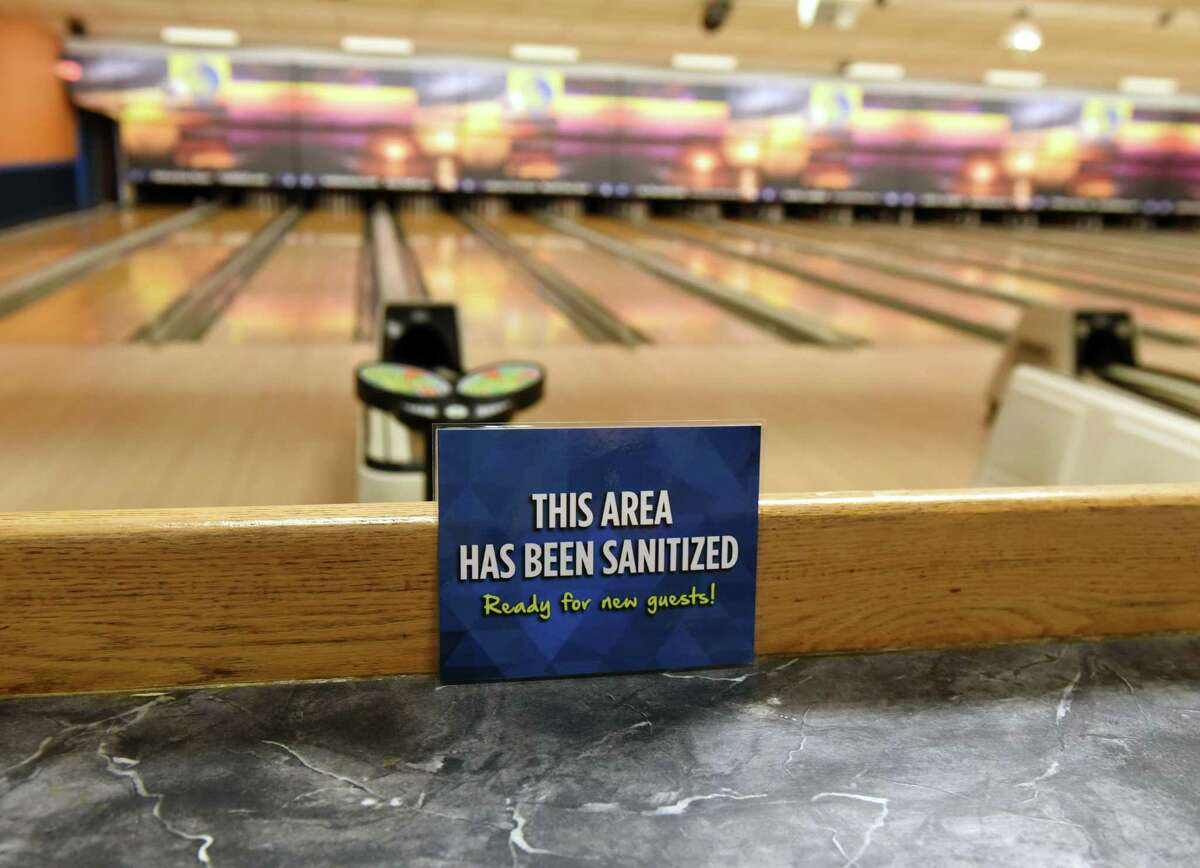 Spare Time-Latham bowling alley has taken measures they say would make the center safe to reopen, including an extensive cleaning on Monday, July 20, 2020, in Colonie, N.Y. New York bowling centers have remained closed under state coronavirus guidelines. (Will Waldron/Times Union)