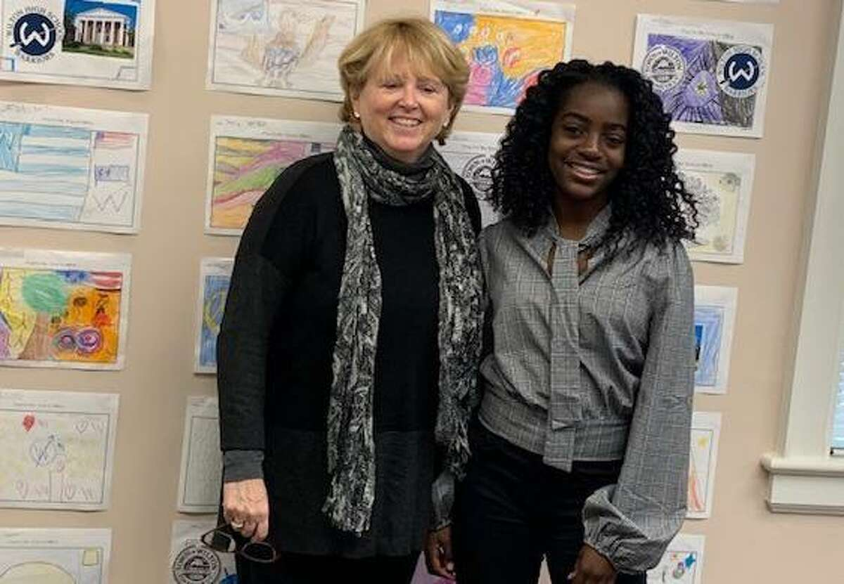 Savannah Joseph, Ms President US of Wilton for 2019-20, visits First Selectwoman Lynne Vanderslice at her office in town hall.