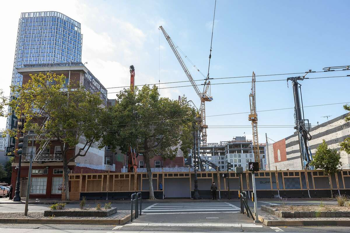 The 585 units of housing project takes shape at 1621 Market St. on Friday, July 17, 2020, in San Francisco, Calif.�