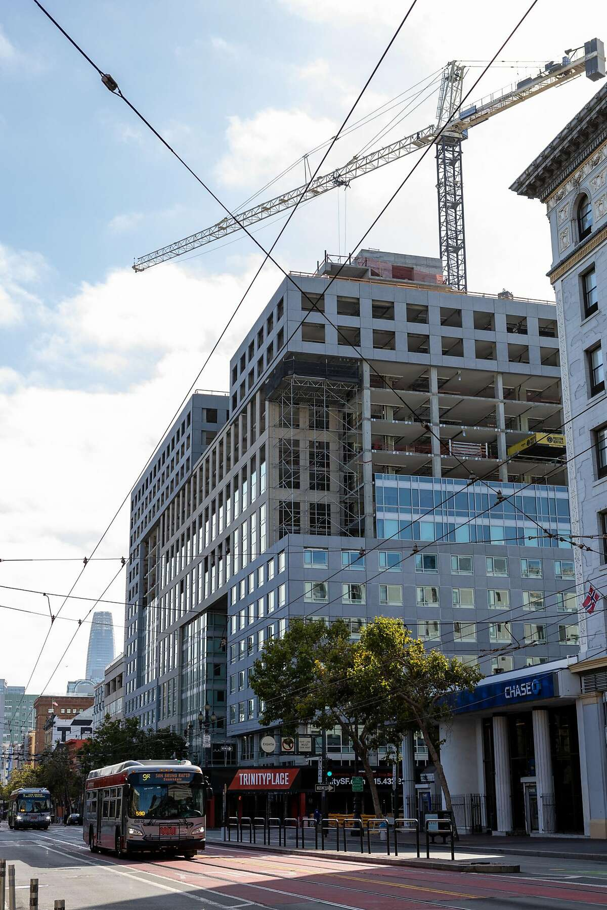 The exterior of Trinity Place at 8th and Market Streets on Friday, July 17, 2020, in San Francisco, Calif.�