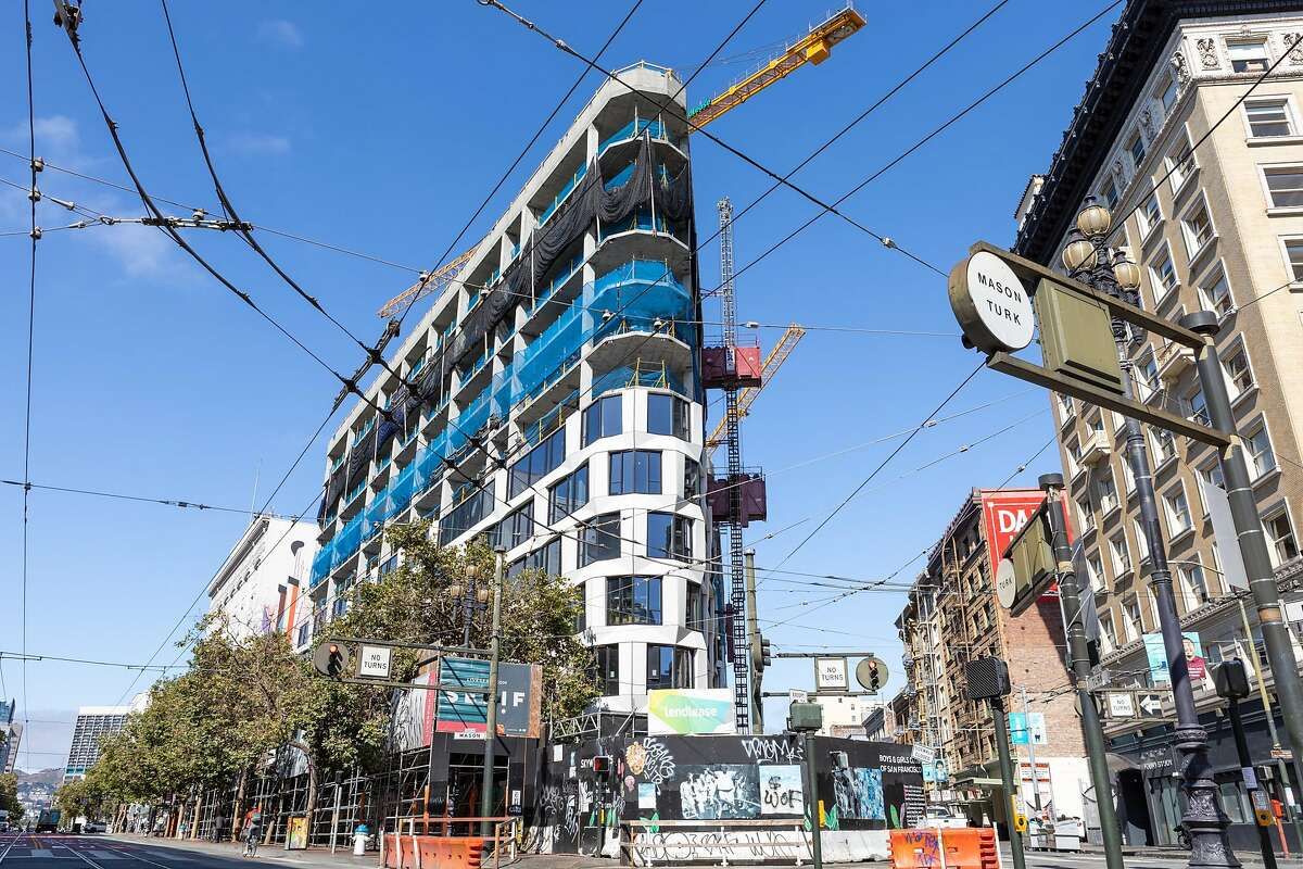 View of the outside of 950 Market St., a hotel/condo development, seen on Friday, July 17, 2020, in San Francisco, Calif.�