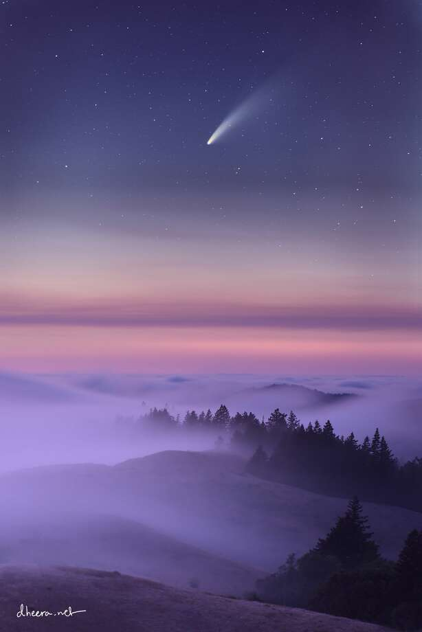 Comet NEOWISE streaks over the Marin County hills near Mount Tamalpais on Wednesday, July 15, shortly after sunset. Photo by Palo Alto robotics engineer Dheera Venkatraman, whose work can be seen on Instagram. (Special to SFGATE.) Photo: Dheera Venkatraman/Instagram