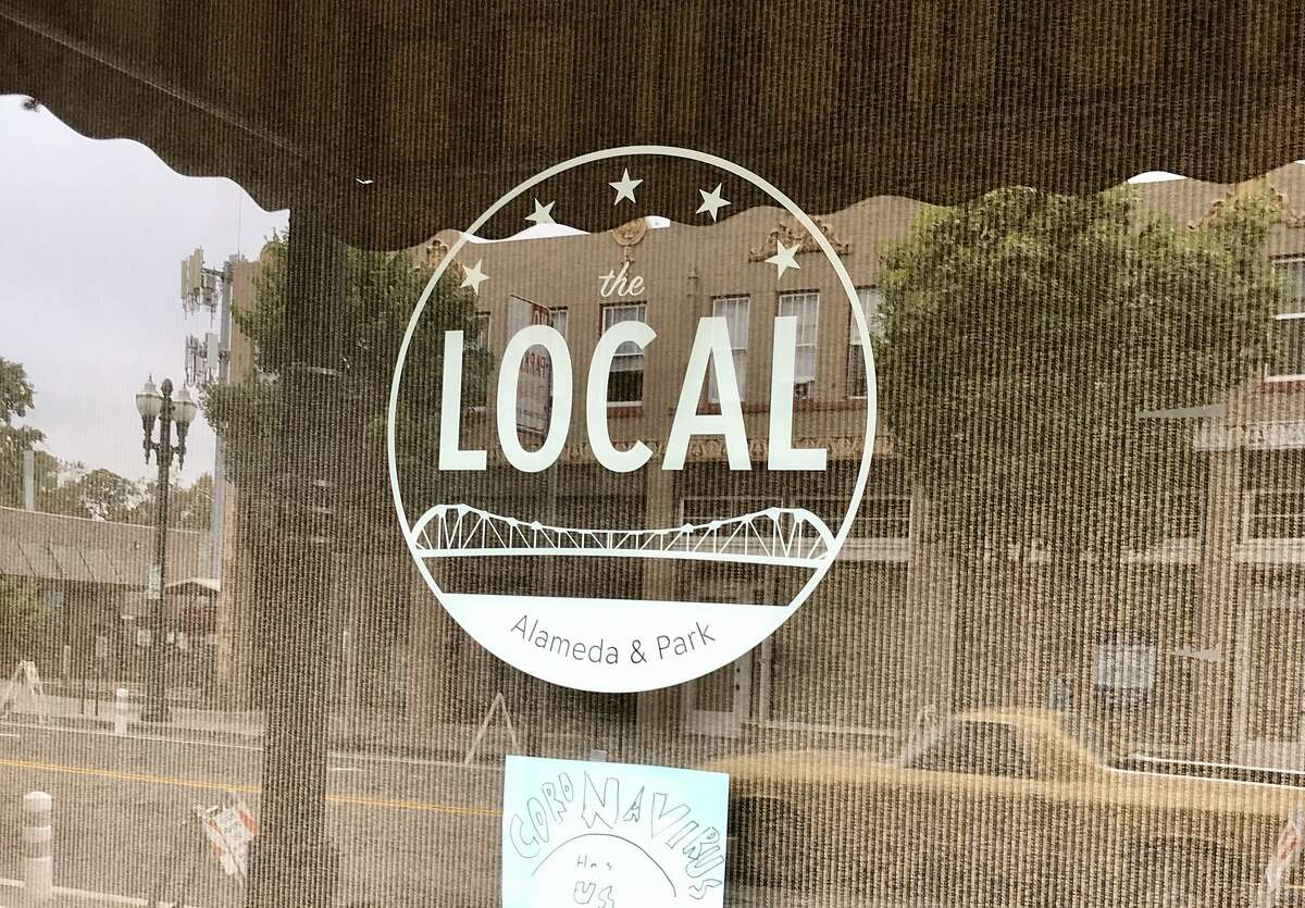 The Local coffee shop in Alameda uses the Park Street Bridge as a logo. The bridge was built in the 1930s with Works Progress Administration funding.