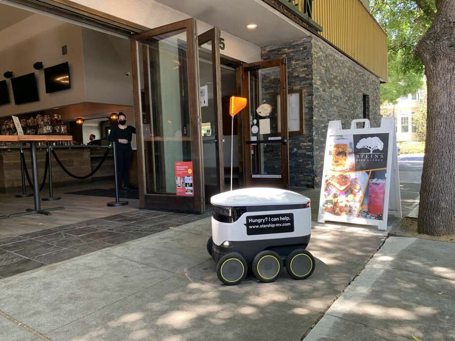 Steins Beer Garden in Mountain View recently started using Starship robots to deliver their takeout. Photo: John Ryan