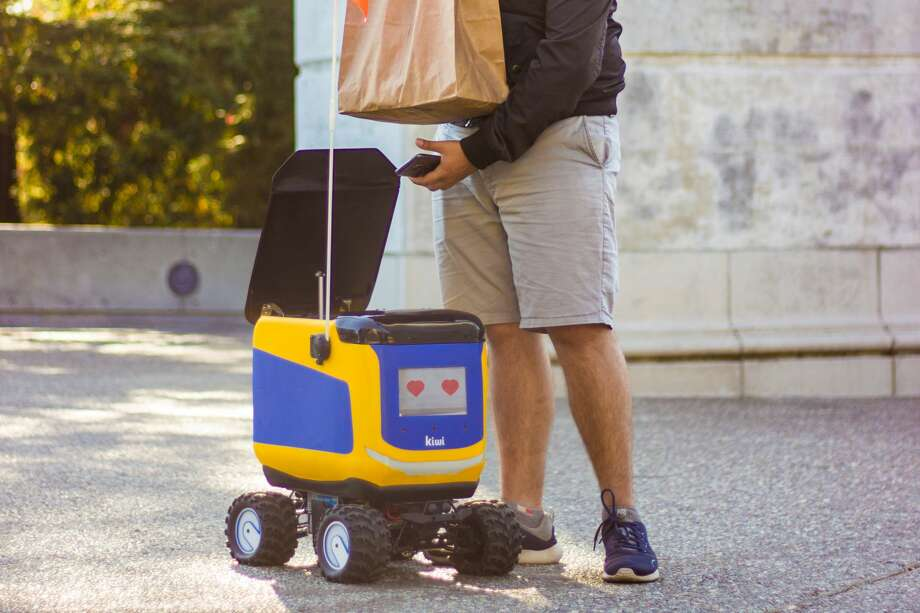 Food delivery robot companies like Kiwibot have seen a huge increase in demand during the pandemic. Photo: Courtesy Of Kiwibot
