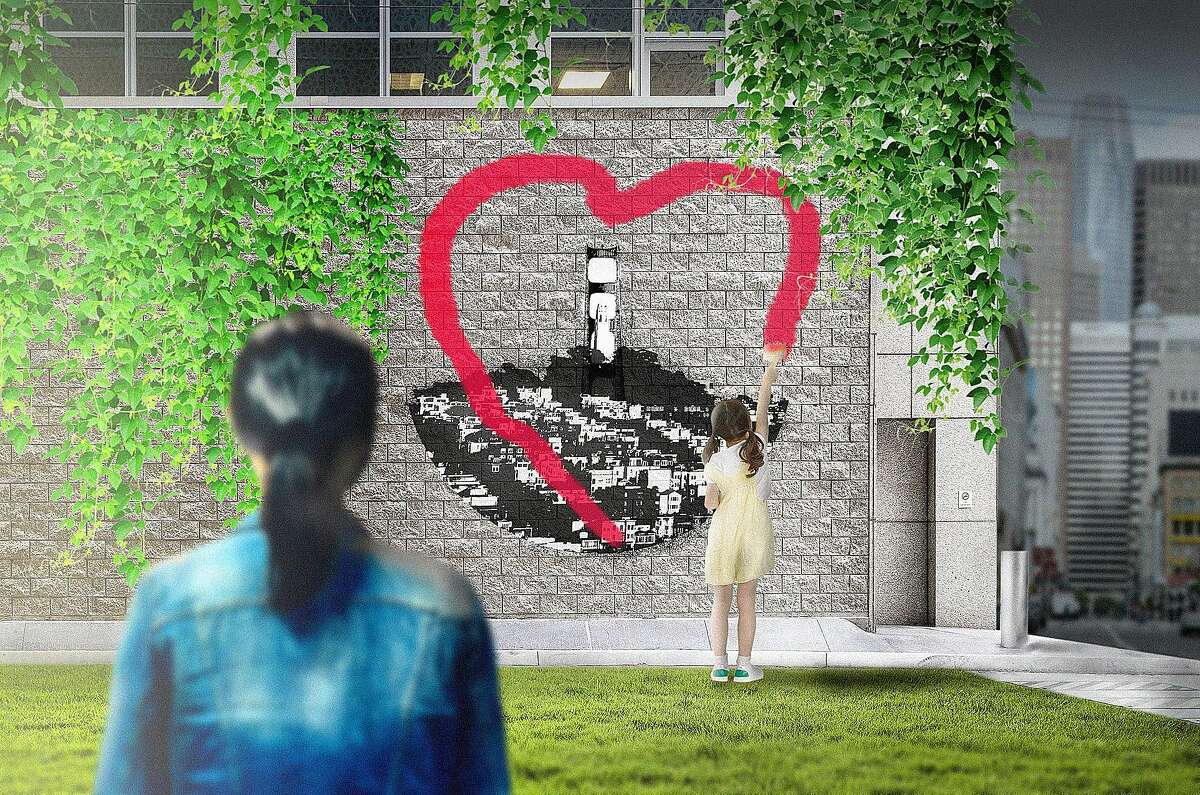 """Illustration for Molly Liu's short story """"The Great Awakening."""" Mei watches her daughter Lina paint a heart sign."""