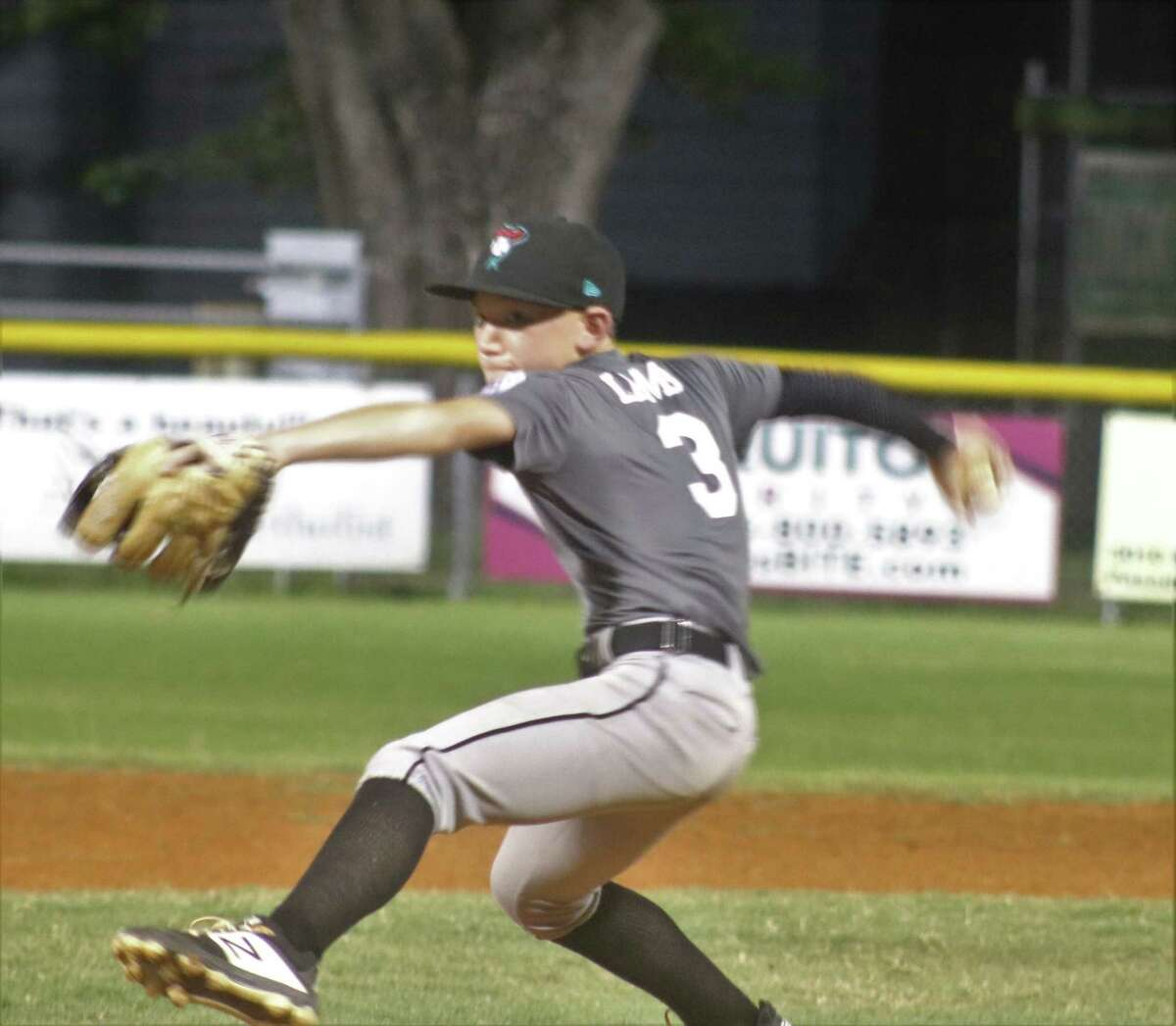 Mason Lamb works on another batter en route to his five innings of pitching no-hit ball at Rudy Trabanino Field Monday night.