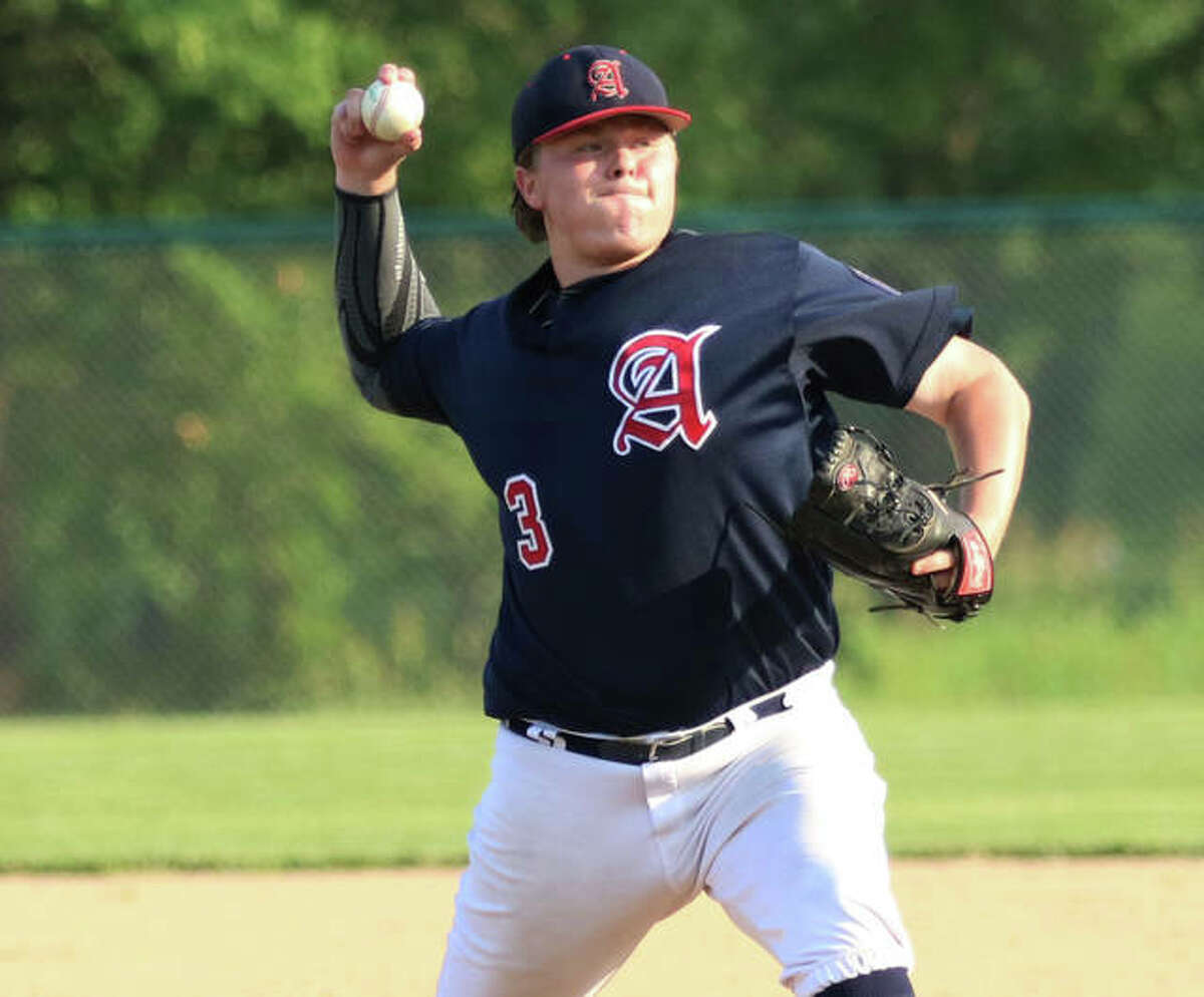 Alton's Adam Stilts, shown in a July 6 start, was back at Moore Park on Monday night and struck out 17 batters in a one-hit shutout of Jerseyville in Alton.