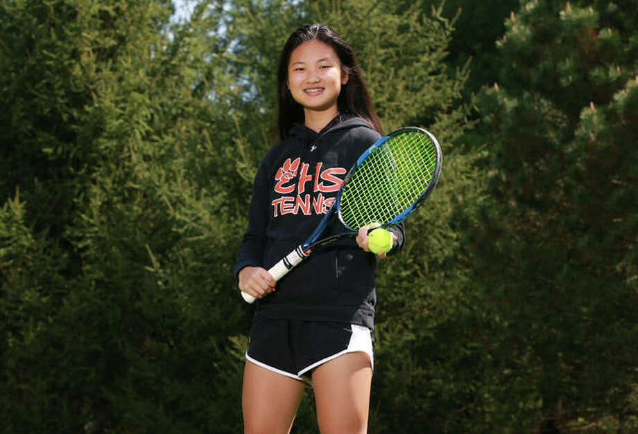 Edwardsville's Chloe Koons played No. 1 singles as a freshman for the Tigers and earned recognition as the 2019 Telegraph Girls Tennis Player of the Year. Photo: Billy Hurst, Front Row Photo / For The Telegraph