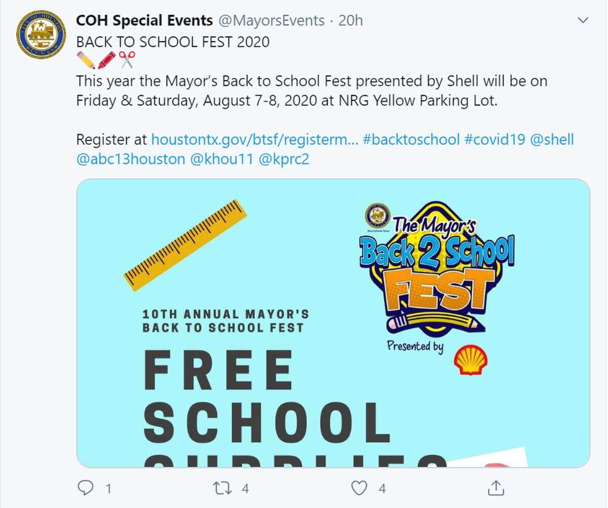 The Mayor's Back 2 School Fest is set for Friday and Saturday, August 7-8, from 8:00 a.m. to 2:00 p.m. at the NRG Yellow Parking Lot.