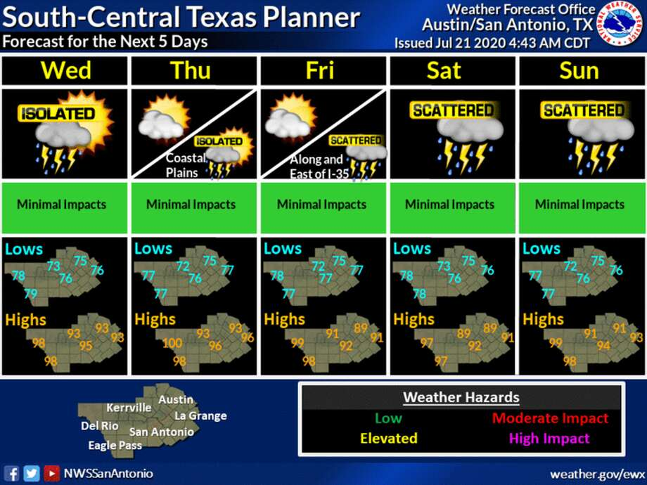 Chances of rain and showers increase later this week in San Antonio due to a tropical disturbance moving into the Gulf of Mexico, according to the National Weather Service. Photo: NWS